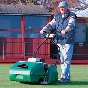 The Super Bowl 51 pedestrian cylinder mower from Ransomes