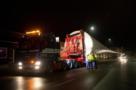 One of the blades about to begin its journey by road