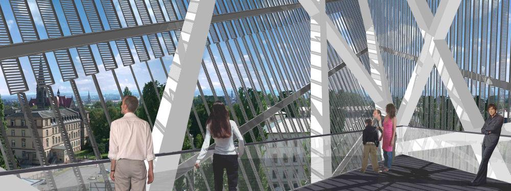 Viewing platform at top of wedge Copyright Studio Daniel Libeskind