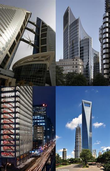 Clockwise from top left: Bahrain, London, Shanghai, New York