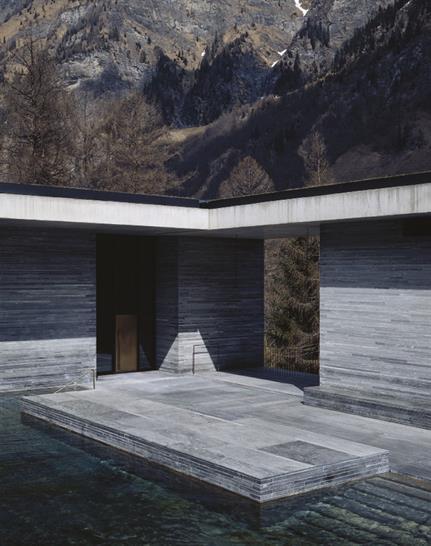Thermal Bath in Vals, Switzerland, Photo by Helene Binet