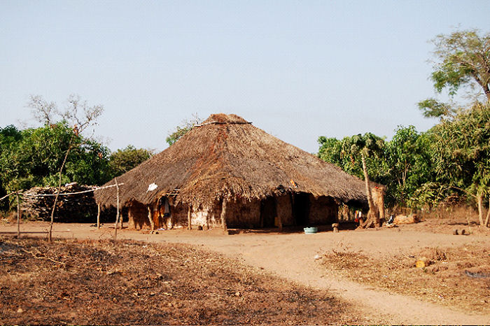 Thatched dwelling in Guinea Biassau