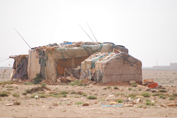 Fishermens boxes in Western Sahara