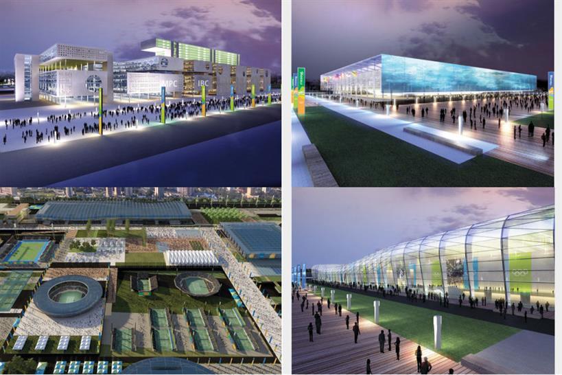 (clockwise from top left) MPC/IBC; Aquatics stadium; Olympic training facility; Olympic Tennis Centre, Copyright BCMF Arquitetos