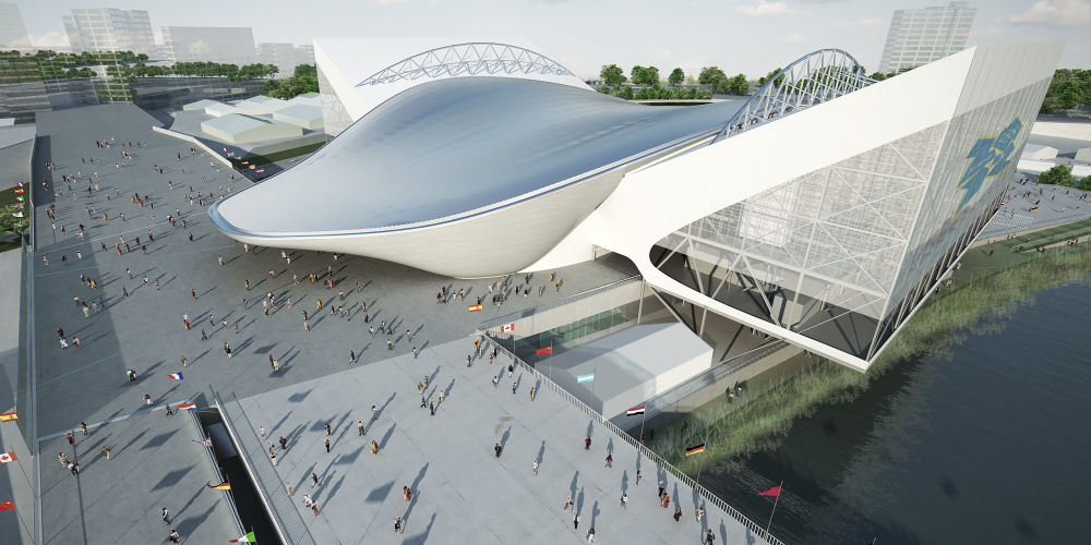 Impression of how the Aquatics Centre will look during Games time, © ODA