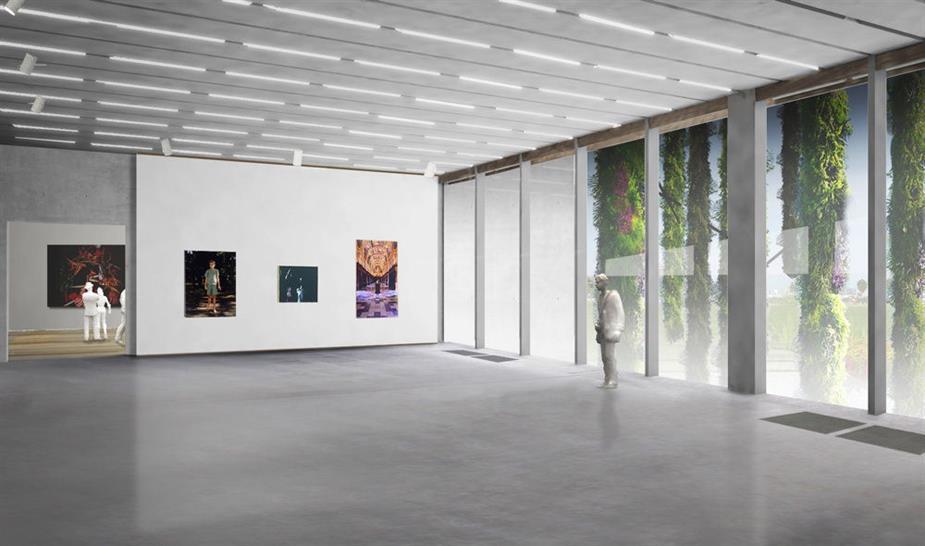Miami Art Museum at Museum Park, gallery view, artwork not represented to scale, Herzog & de Meuron