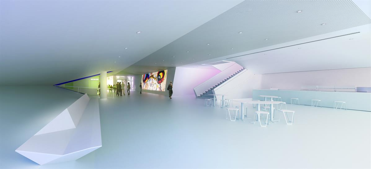 View of the lobby: (vuwstudio.com / Museum of the Moving Image)
