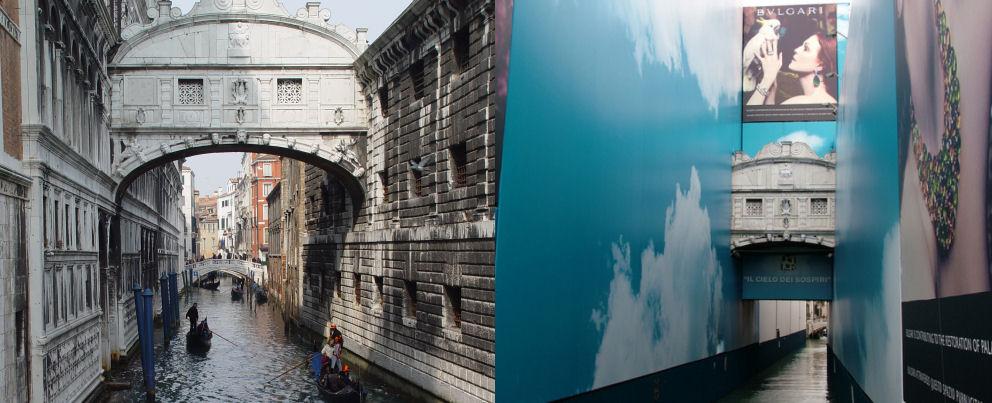 Bridge of Sighs - before and after