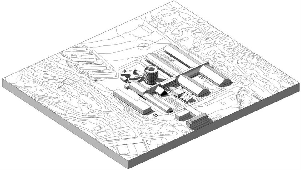 An overview of the general plan for the Dronning Ingrid Hospital; C. F. Møller Architects