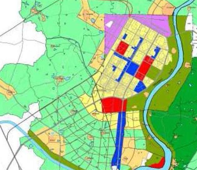 Consultant's redesign of Gandhinagar extending south