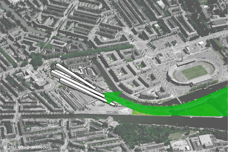 Proposal: Continuation of green wedge and boulevard into an agglomeration of three dwelling volumes