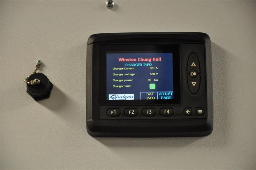 The display screen on the charger for the rare earth lithium-ion batteries