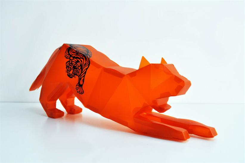 Chris Bosse | LAVA; Giant Origami Tiger, Laser Cut Plastic Origami + Decal