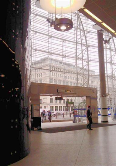 Blast proof glazed atrium North side concourse