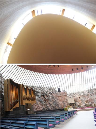 Kamppi Chapel of Silence by K2S Architects and Temppeliaukio Church by Timo and Tuomo Suomalainen
