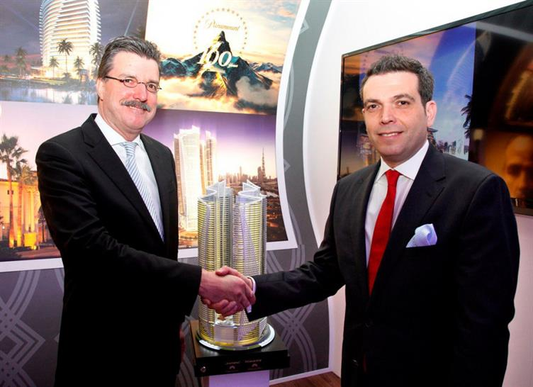 DAMAC's Ziad El Chaar with Thomas van Vliet, Chief Executive Officer from Paramount Hospitality after the announcement this morning at ITB in Berlin