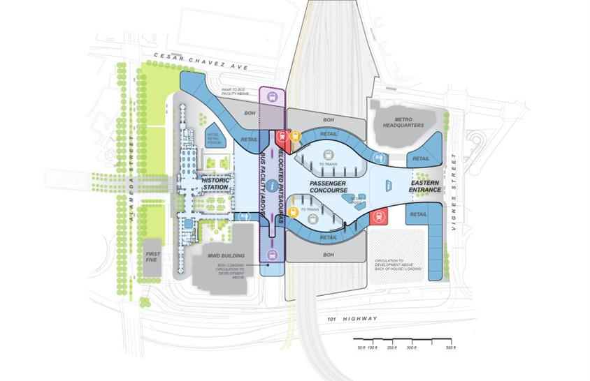 A conceptual site plan of Los Angeles Union Station.