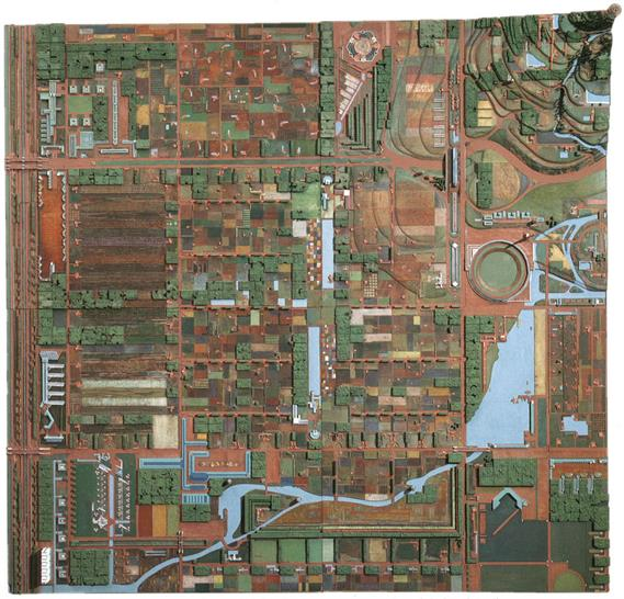Broadacre City. Project, 1934–35. Model in four sections: painted wood, cardboard, and paper, 152 x 152in. The Frank Lloyd Wright Foundation Archives