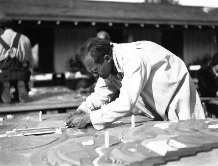 Broadacre City. Project, 1934–35. Taliesin fellows working on the model. Chandler, Arizona, 1935. Gelatin silver print on paper, 9 9/16 x 7in. The Frank Lloyd Wright Foundation Archives