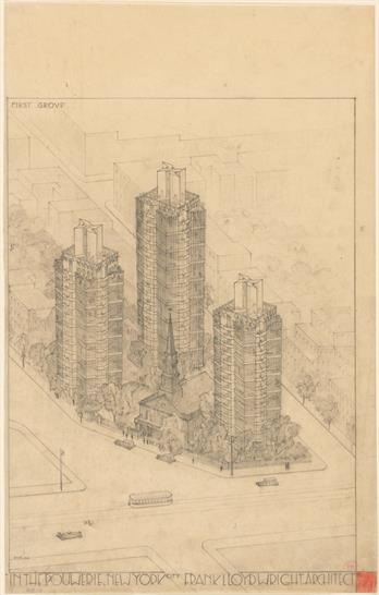 """St. Mark's-in-the-Bouwerie Towers, New York. Project, 1927–31. Aerial perspective. Pencil and colored pencil on tracing paper, 23 3/4 x 15"""" (60.3 x 38.1 cm). The Museum of Modern Art, New York"""