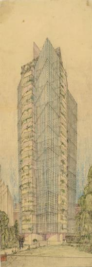 """St. Mark's-in-the-Bouwerie Tower, New York. Project, 1927–31. Perspective, 1928. Pencil and colored pencil on tracing paper, 28 1/4 x 10 1/8"""" (71.8 x 25.7 cm). The Frank Lloyd Wright Foundation Archives"""