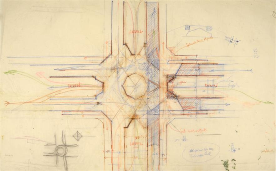 """Broadacre City. Project, 1934–35. Study for a plan of a highway interchange. Pencil and colored pencil on tracing paper, 22 x 35"""" (55.9 x 88.9 cm). The Frank Lloyd Wright Foundation Archives"""