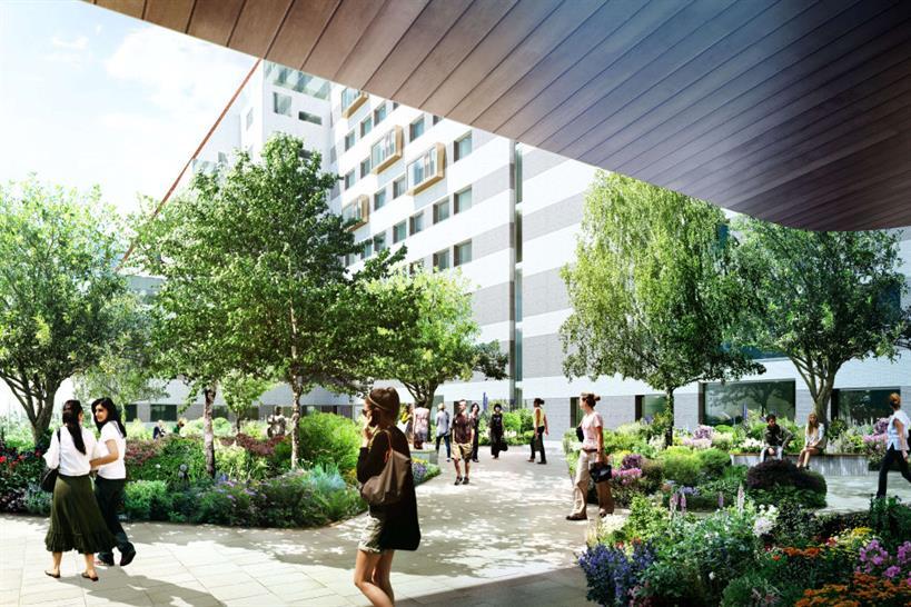 Rendering of inner courtyard