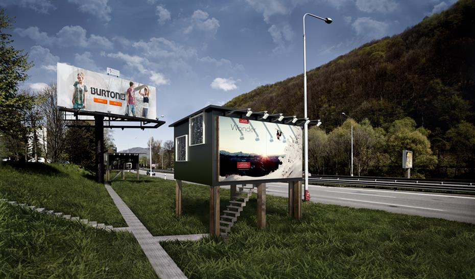 Home behind an advertising hoarding; Courtesy of Design Develop, Slovakia