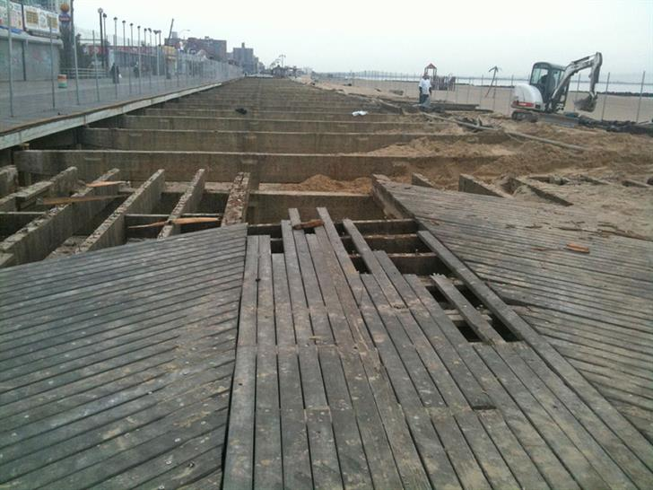Post-Sandy salvaging work; Image courtesy of Sawkill Lumber Co