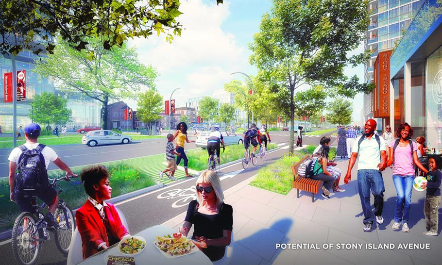 © Skidmore Owings & Merrill caption: Rendering showing potential development along Stony Island Avenue near a proposed site for the Obama Presidential Library