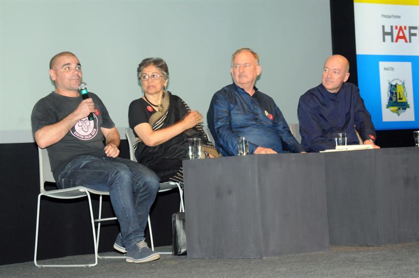 Panel Discussion (L to R) Santiago Cirugeda, Brinda Somaya, Christopher Benninger, Ton Venhoeven © Charles Correa Foundation