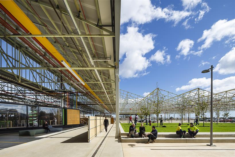 """<a href=""""http://backstage.worldarchitecturenews.com/wanawards/project/tonsley-main-assembly-building-and-pods/?source=sector&selection=longlist"""" target=""""_blank"""">Tonsley Main Assembly Building and Pods</a> © Sam Noonan"""
