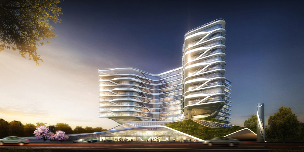 """<a href=""""http://backstage.worldarchitecturenews.com/wanawards/project/shanghai-international-hospital/?source=sector&selection=all"""" target=""""_blank"""">Shanghai International Hospital</a> by HOK © Atchain"""