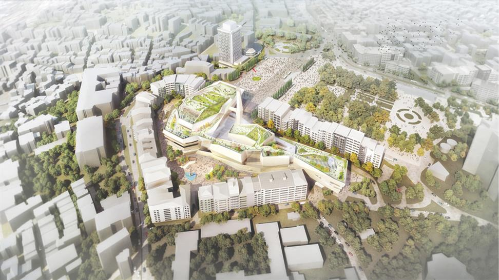 """<a href=""""http://backstage.worldarchitecturenews.com/wanawards/project/confidential-multi-purpose-cultural-centre/?source=sector&mode=listing&selection=all"""" target=""""_blank"""">Istanbul Cultural Center</a> by Adrian Smith + Gordon Gill Architecture"""