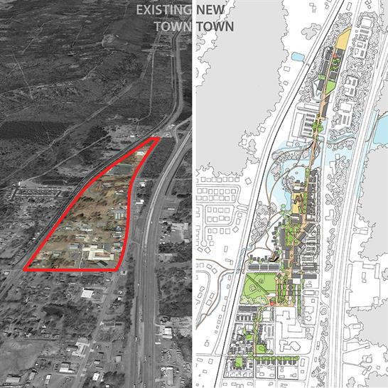 """<a href=""""http://bit.ly/1PQLNwQ"""" target=""""_blank"""">Slow Street: A New Town Centre for Mayflower</a> by University of Arkansas Community Design Center"""