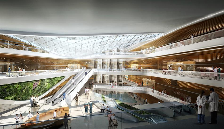 """<a href=""""http://backstage.worldarchitecturenews.com/wanawards/project/shanghai-international-hospital/?source=sector&selection=all"""" target=""""_blank"""">Shanghai International Hospital</a> by HOK &copy; Atchain"""