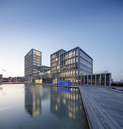 "<a href=""http://backstage.worldarchitecturenews.com/wanawards/project/bestseller-office-complex/?source=sector&selection=longlist"" target=""_blank"">Bestseller Office complex</a> by C.F. Moller Architects &copy; Adam Mork"