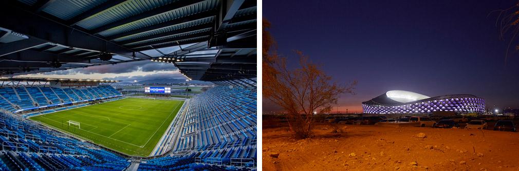 "<a href=""http://bit.ly/26qFhrn"" target=""_blank"">Avaya Stadium</a> &copy; Christy Radecic / <a href=""http://bit.ly/24h9eYX"" target=""_blank"">Hazza Bin Zayed Stadium</a> &copy; Pattern Design Ltd"