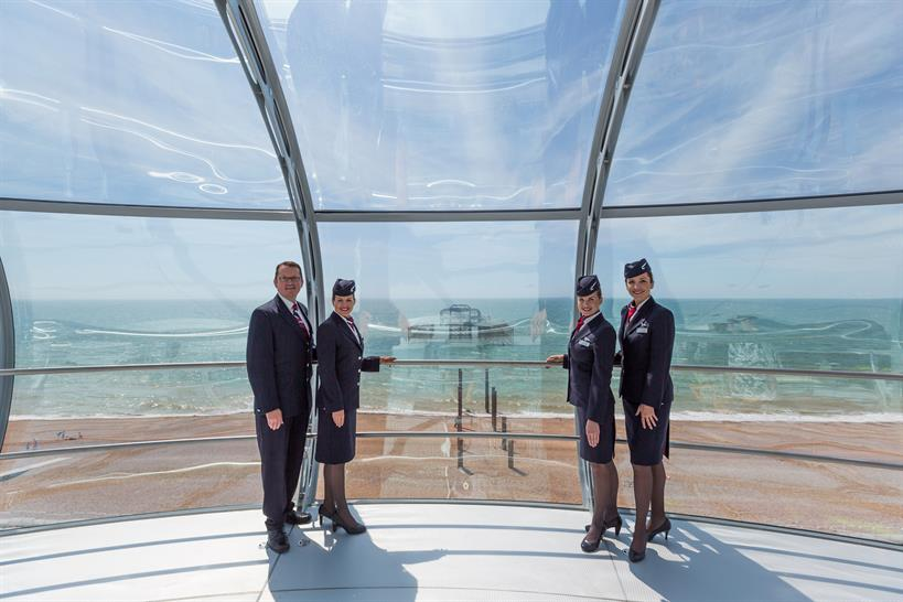 British Airways crew in the pod with old West Pier behind © British Airways i360