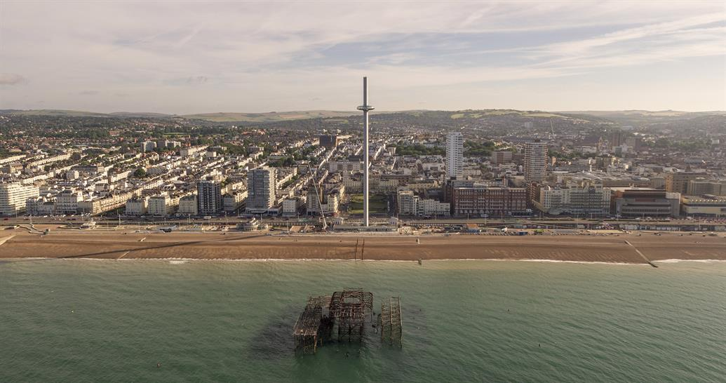 The British Airways i360 towers over the Brighton seafront © Visual Air
