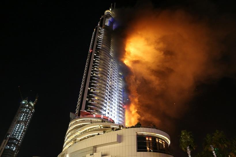 """3) <a href=""""http://bit.ly/2j9e3S6"""" target=""""_blank"""">Tech Spot #35: Dubai blaze highlights cladding risk</a> © Address Downtown Hotel"""