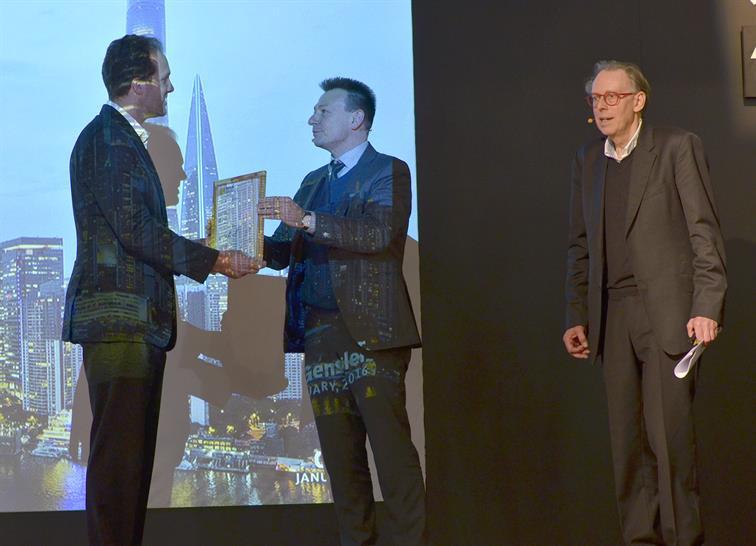 Ben Tranel, Principal, Gensler (left) with Mirko Arend, BAU, Exhibition Director and Michael Hammond, WAN Editor in Chief - BAU