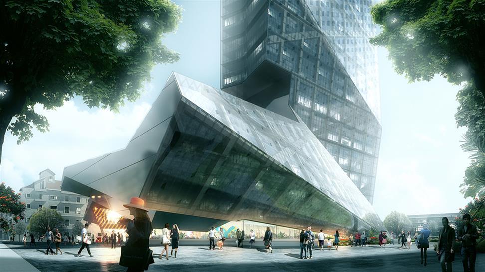 "<a href=""http://backstage.worldarchitecturenews.com/wanawards/project/hanking-center-tower/"" target=""_blank"">Hanking Center Tower</a> by Morphosis Architects © Luxigon"