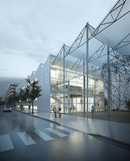 """<a href=""""http://backstage.worldarchitecturenews.com/wanawards/project/halle-6-interdisciplinary-centre-for-digital-cultures/"""" target=""""_blank"""">Halle 6 - Interdisciplinary Centre</a> for Digital Cultures by © LIN architects urbanists"""