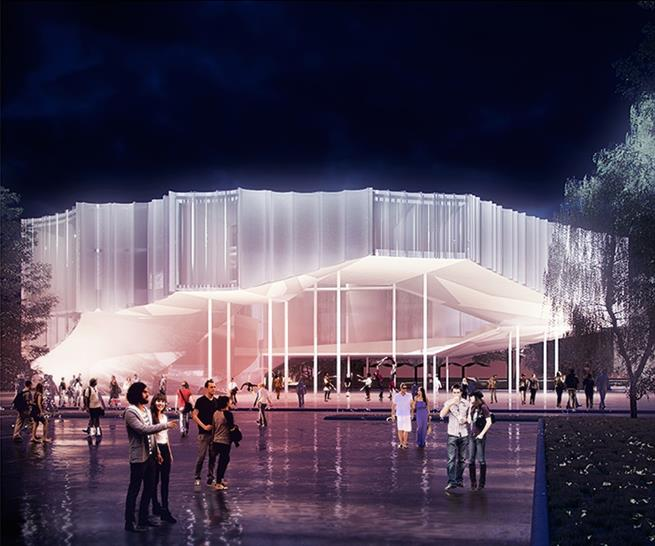 """<a href=""""http://backstage.worldarchitecturenews.com/wanawards/project/circus-conservatory-of-america/"""" target=""""_blank"""">Circus Conservatory of America</a> by © Höweler + Yoon Architecture"""