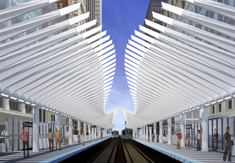"""<a href=""""http://backstage.worldarchitecturenews.com/wanawards/project/washington-wabash-cta-elevated-station/"""" target=""""_blank"""">Washington/Wabash CTA Elevated Station</a> by © exp"""