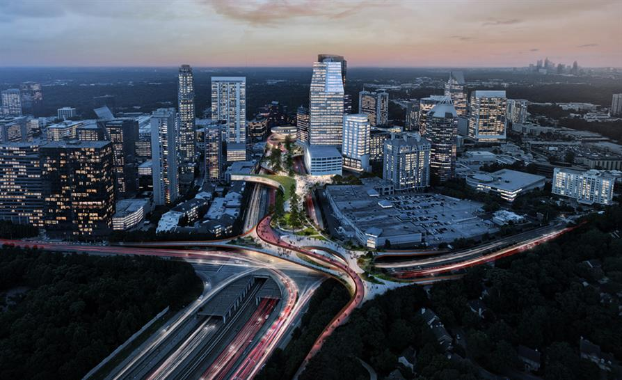 """<a href=""""https://backstage.worldarchitecturenews.com/wanawards/project/buckhead-park-over-ga400/"""" target=""""_blank"""">Atlanta's Park Over GA400</a> by Rogers Partners Architects+Urban Designers &copy; Rogers Partners, Nelson Byrd Woltz Landscape Architects"""