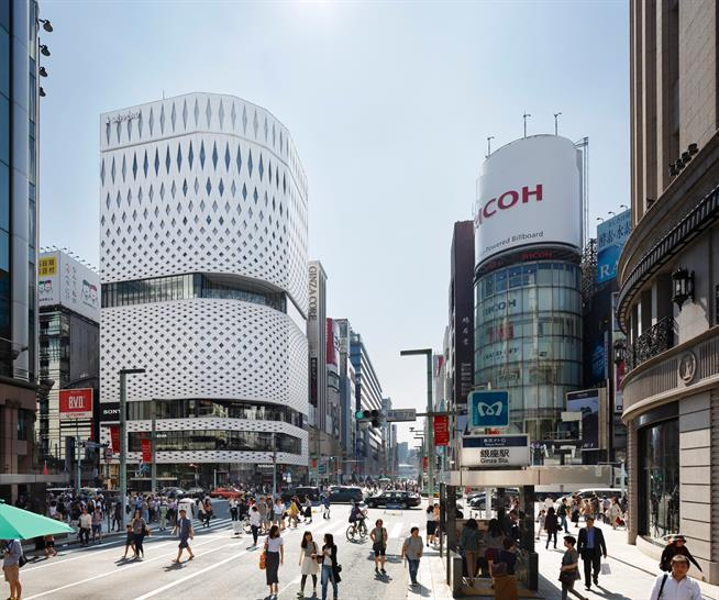 """<a href=""""https://backstage.worldarchitecturenews.com/wanawards/project/ginza-place/"""" target=""""_blank"""">Ginza Place</a> by Klein Dytham architecture &copy; Nacása & Partners"""
