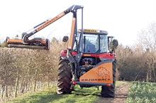 Tractor-mounted trimmers for hedgerows