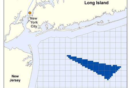 The proposed area for the development, offshore New York state